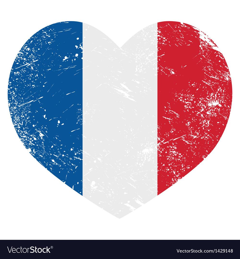 France heart retro flag vector