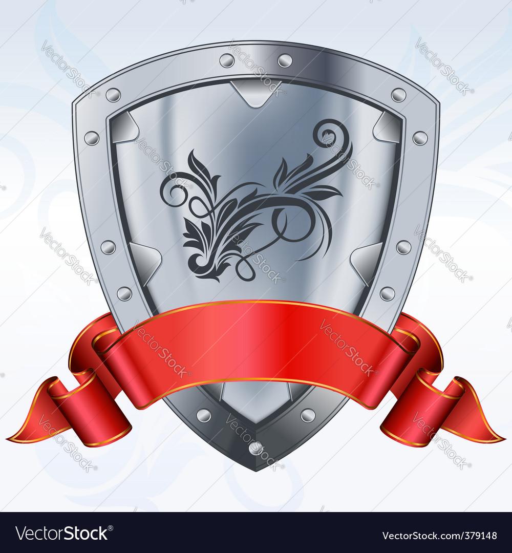 Shield with ribbon vector