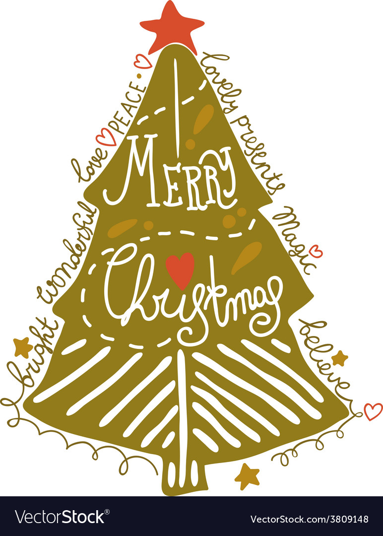 Sketchy christmas tree vector