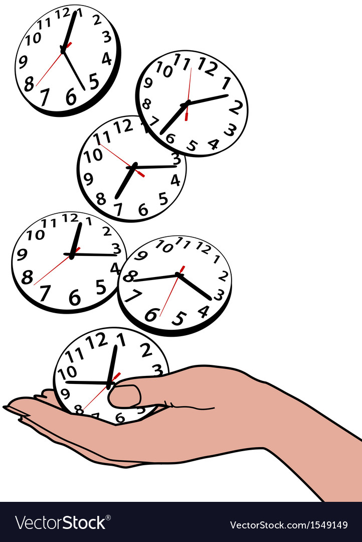 Busy person hand save time clocks vector