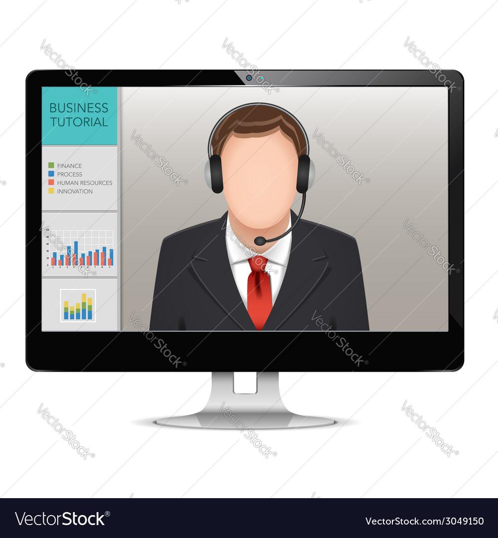 Computer webinar concept vector