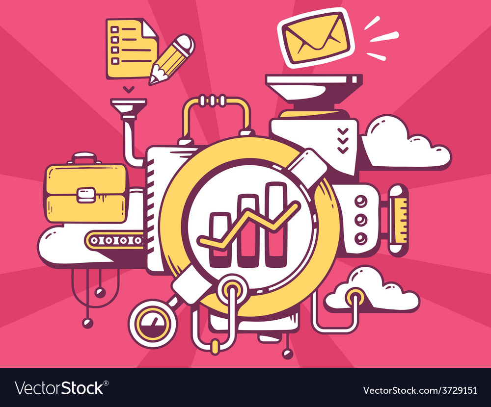 Mechanism with bar chart and office icons vector