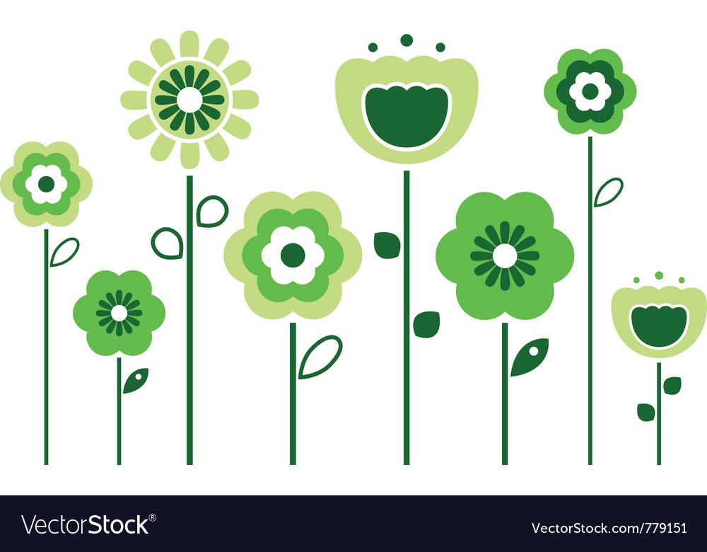Retro spring flowers vector