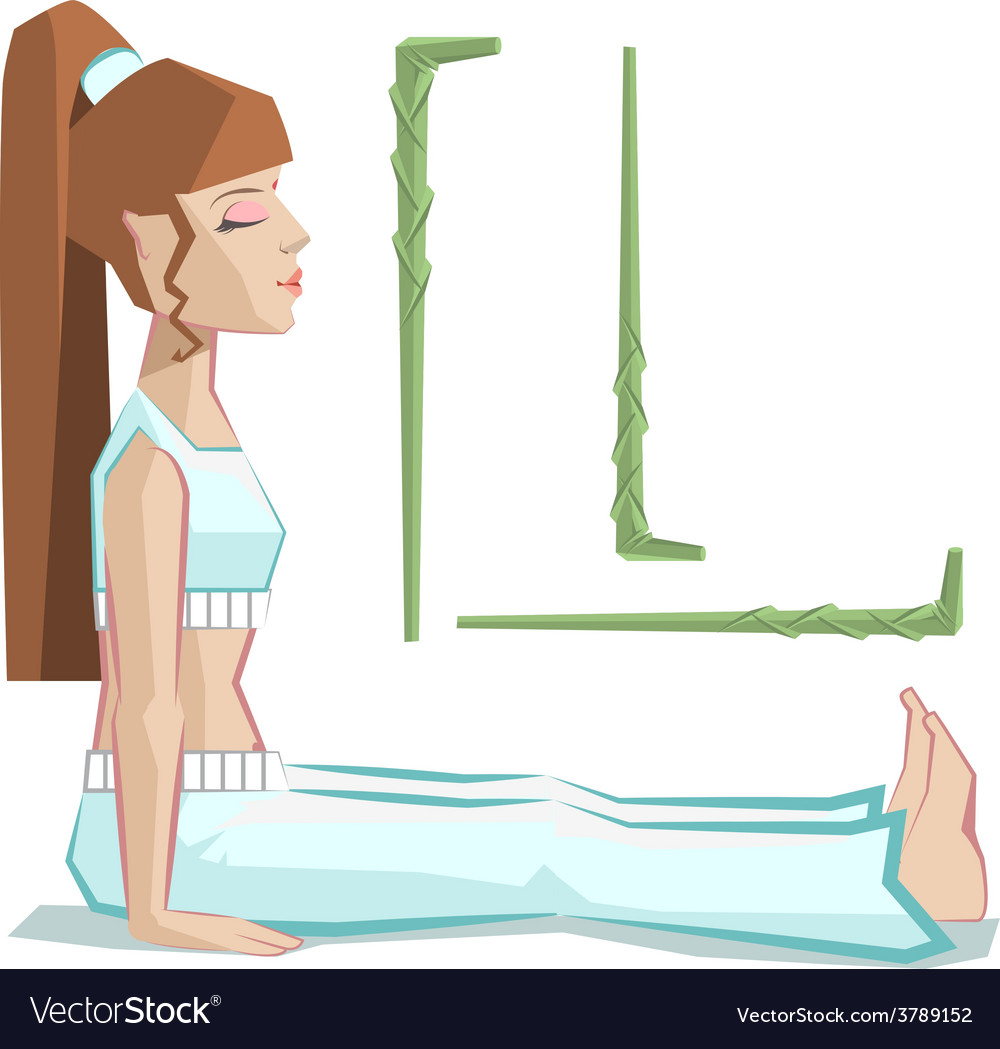 Girl sitting in yoga pose staff vector