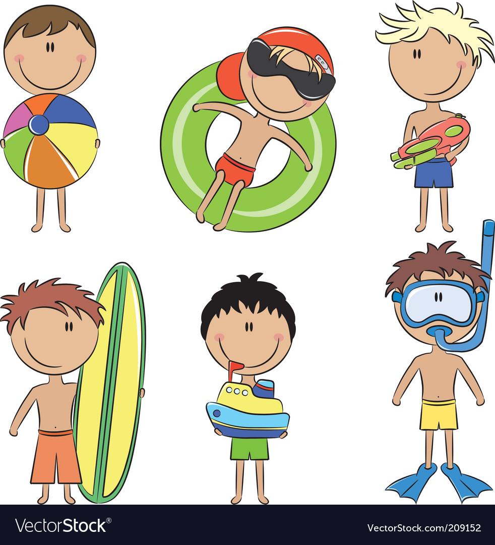 Happy kids on the beach vector