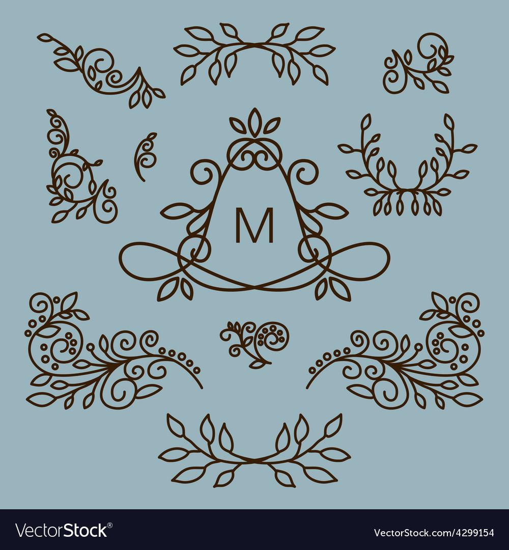 Set of floral line design elements for vector