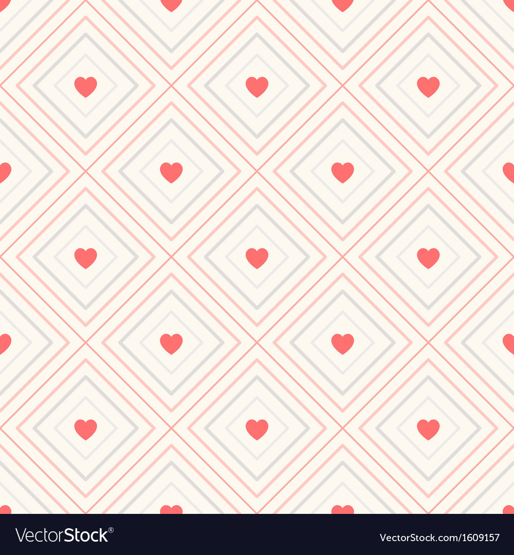 Geometric seamless pattern with rhombus and hearts vector