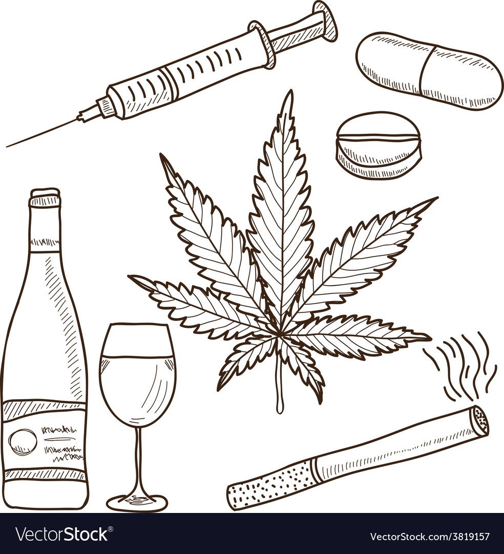 Narcotics - marijuana alcohol vector