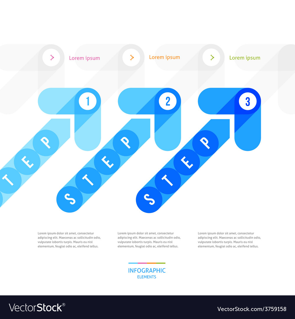 Blue arrows for the step-by-step instruction vector