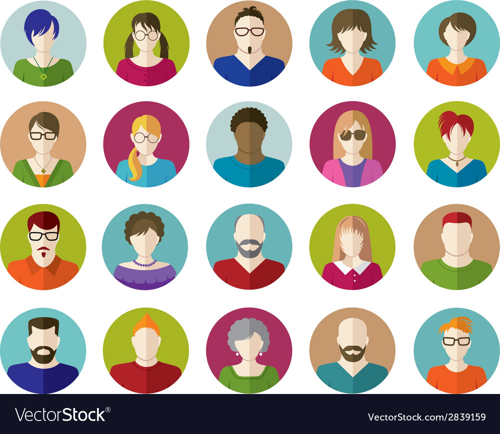 Set of people flat icons vector