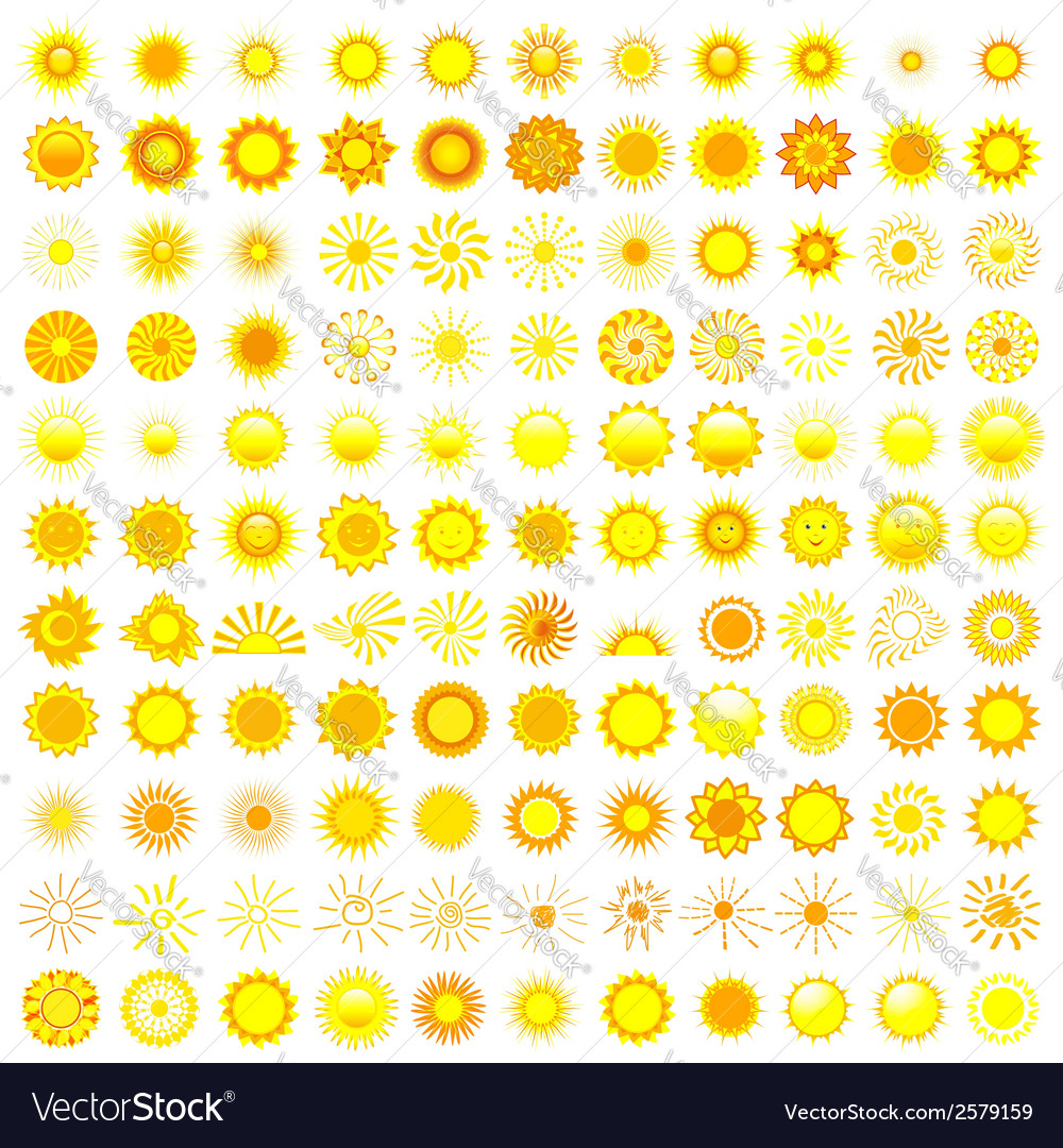 Set of sun icon vector