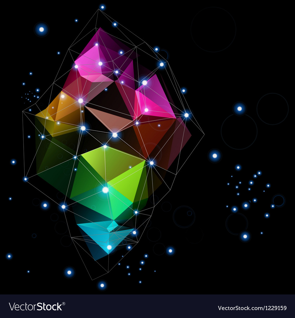 Space technologies triangle abstract design vector