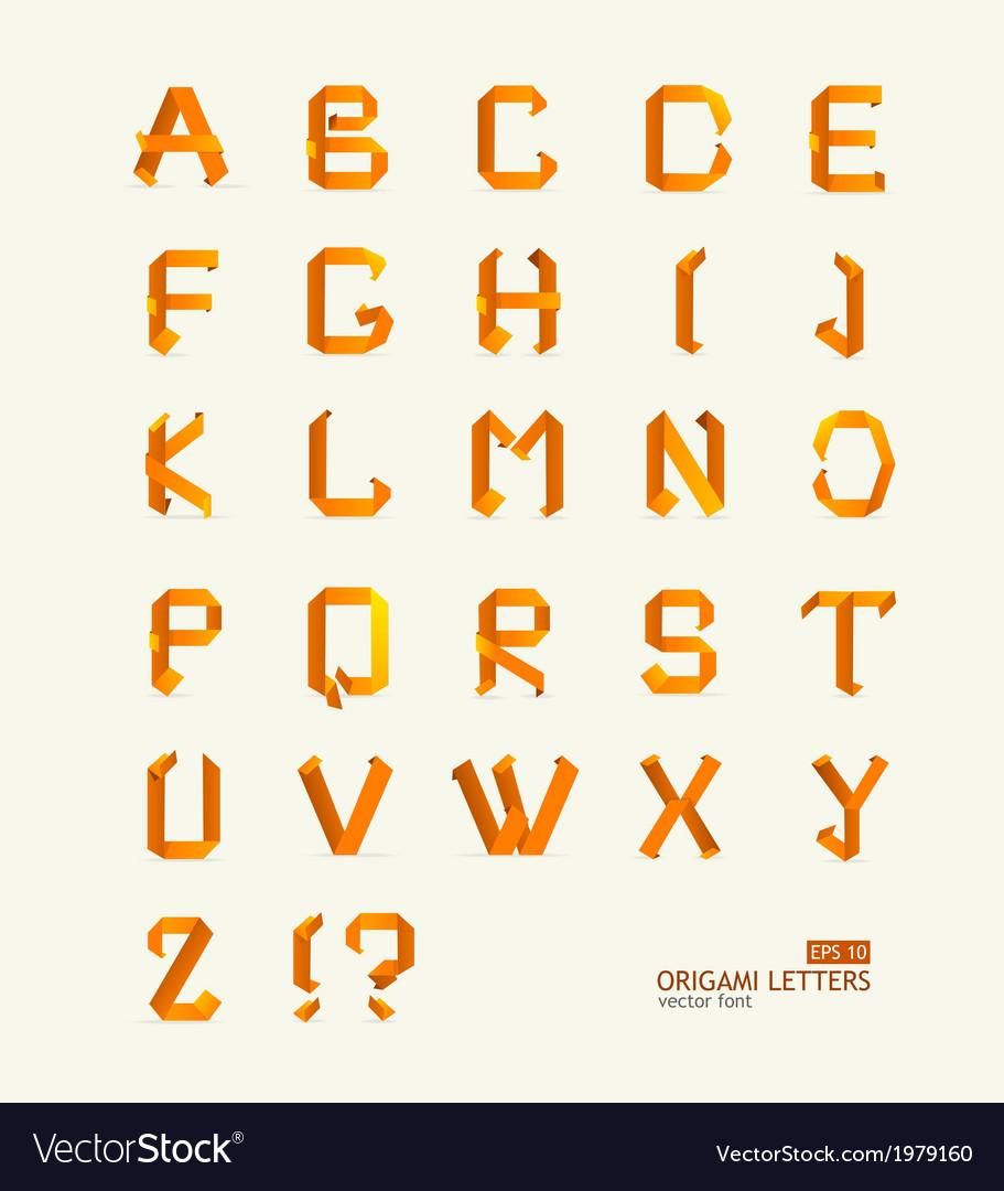 Origami alphabet letters paper vector