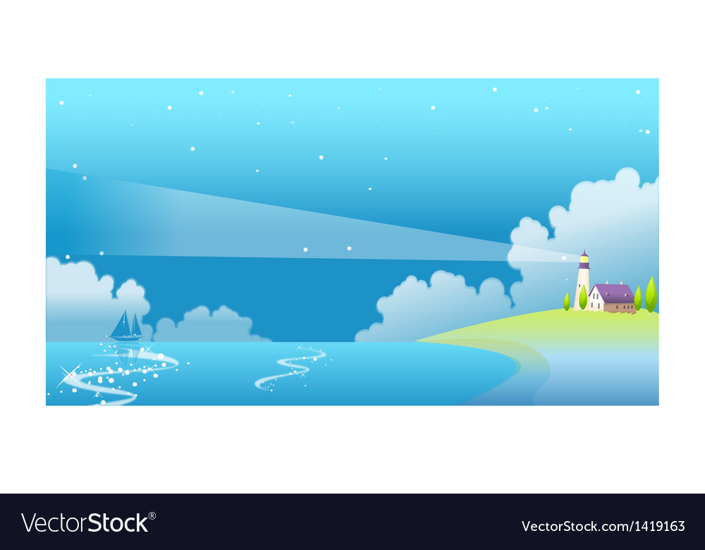Residential house lighthouse vector