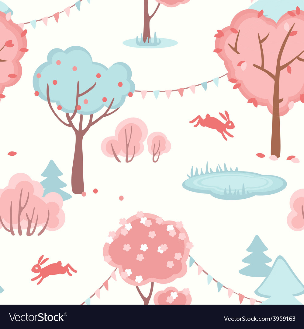 Seamless pattern with cute forest of love vector