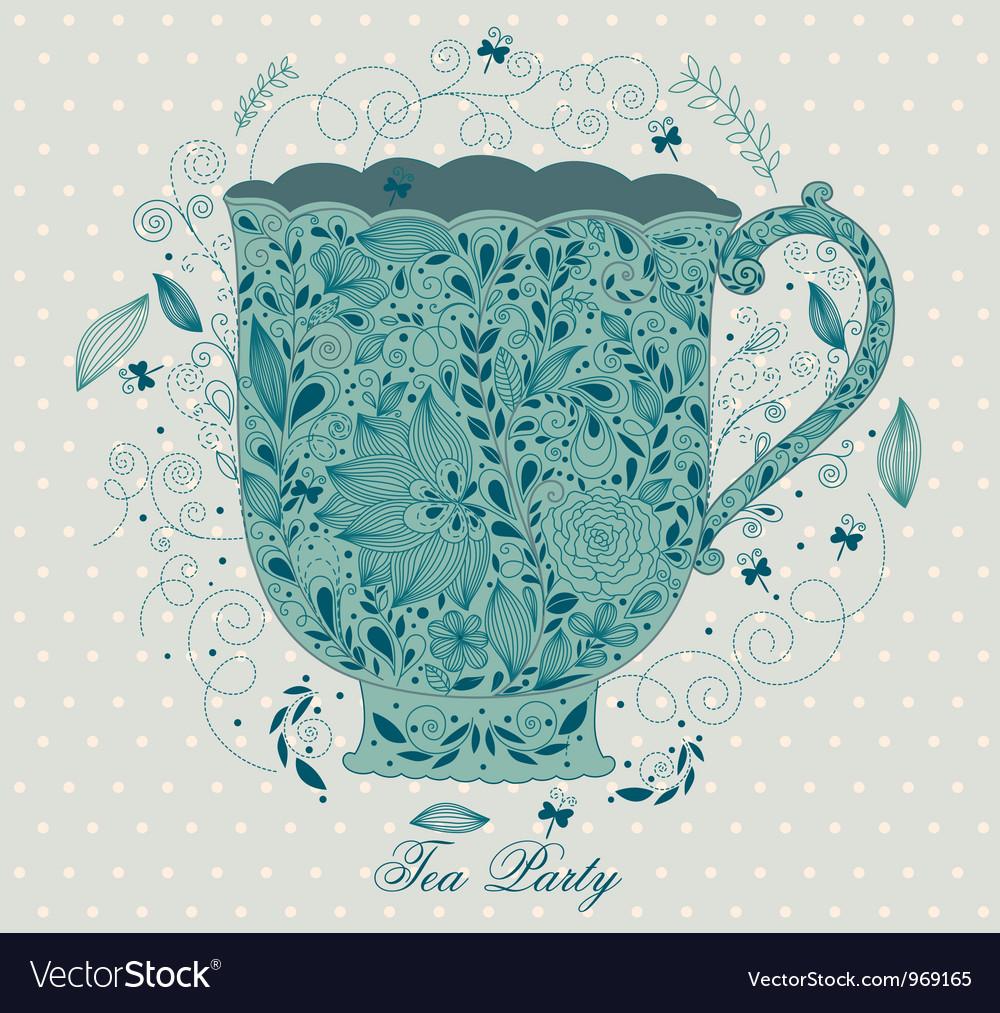 Fancy tea cups vector