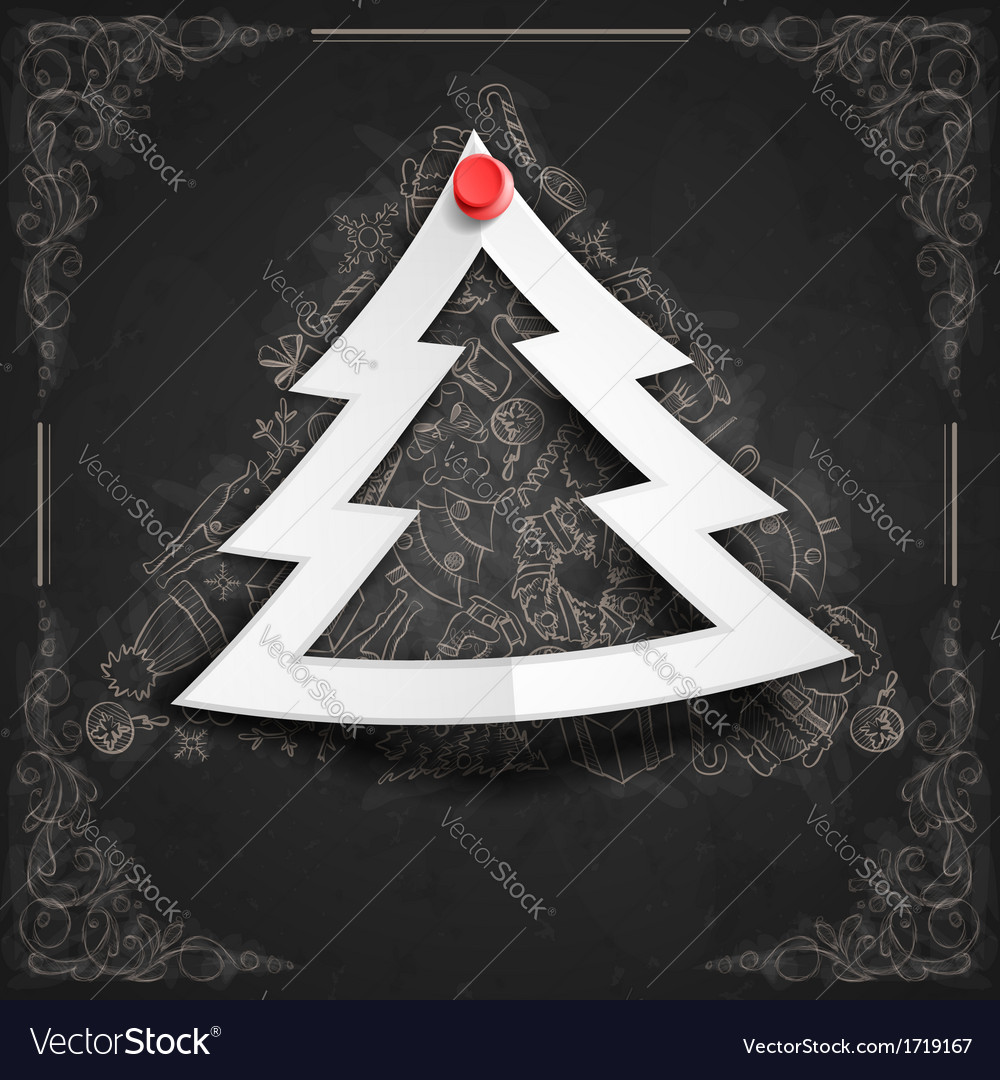 Merry christmas stylish tree vector