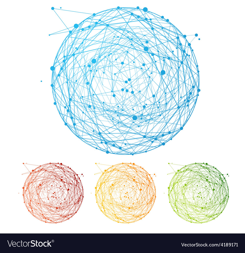 Abstract colorful sphere set flat design vector