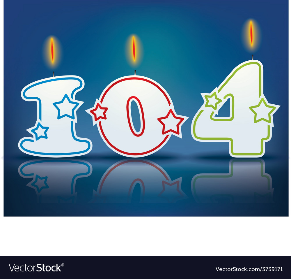 Birthday candle number 104 vector