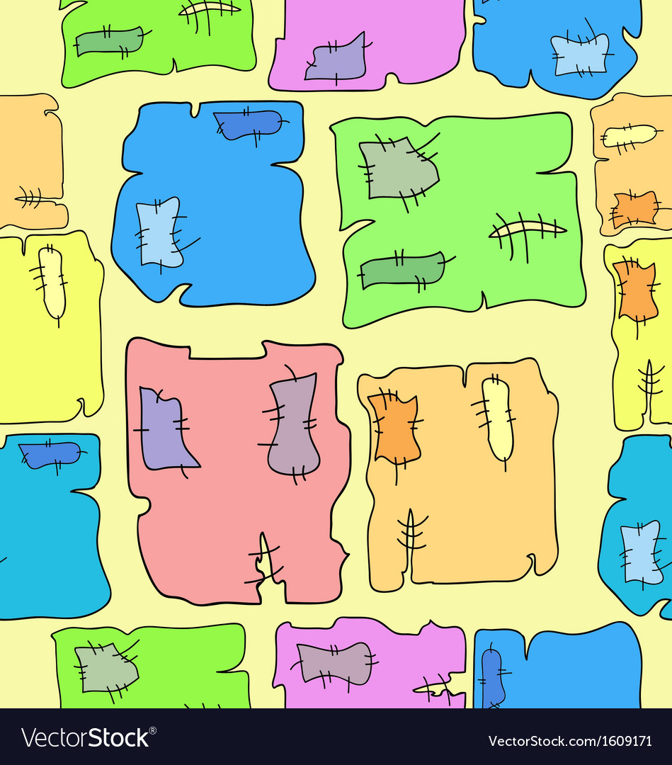 Seamless pattern of pieces of cloth vector