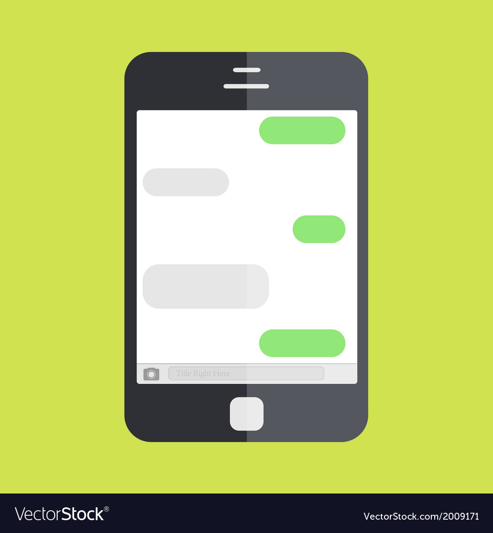 Smartphone with message on green background vector