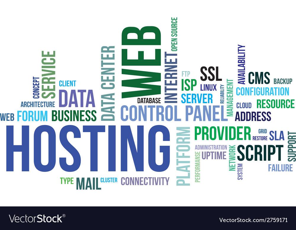 Word cloud web hosting vector