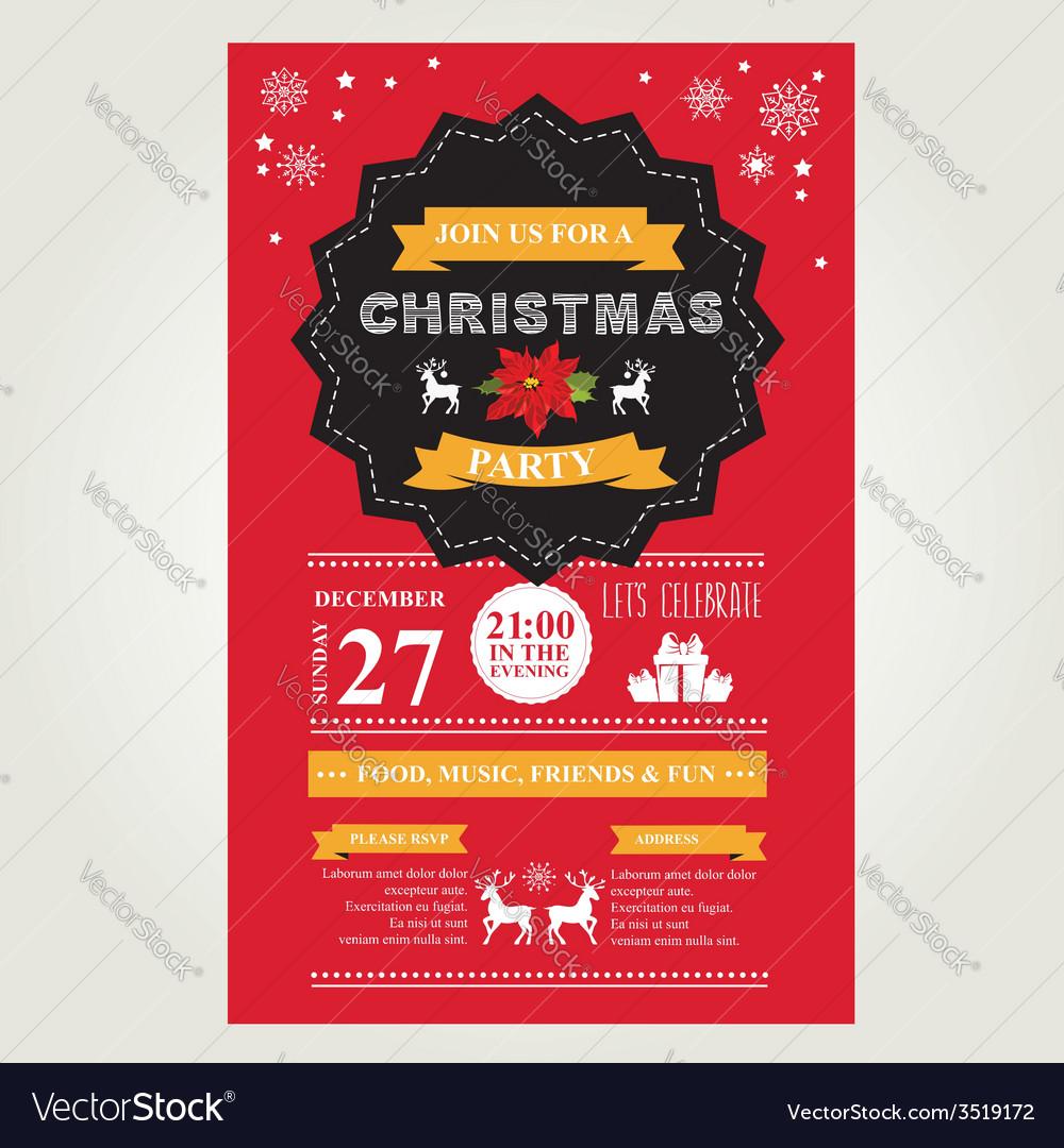 Christmas menu invite vector