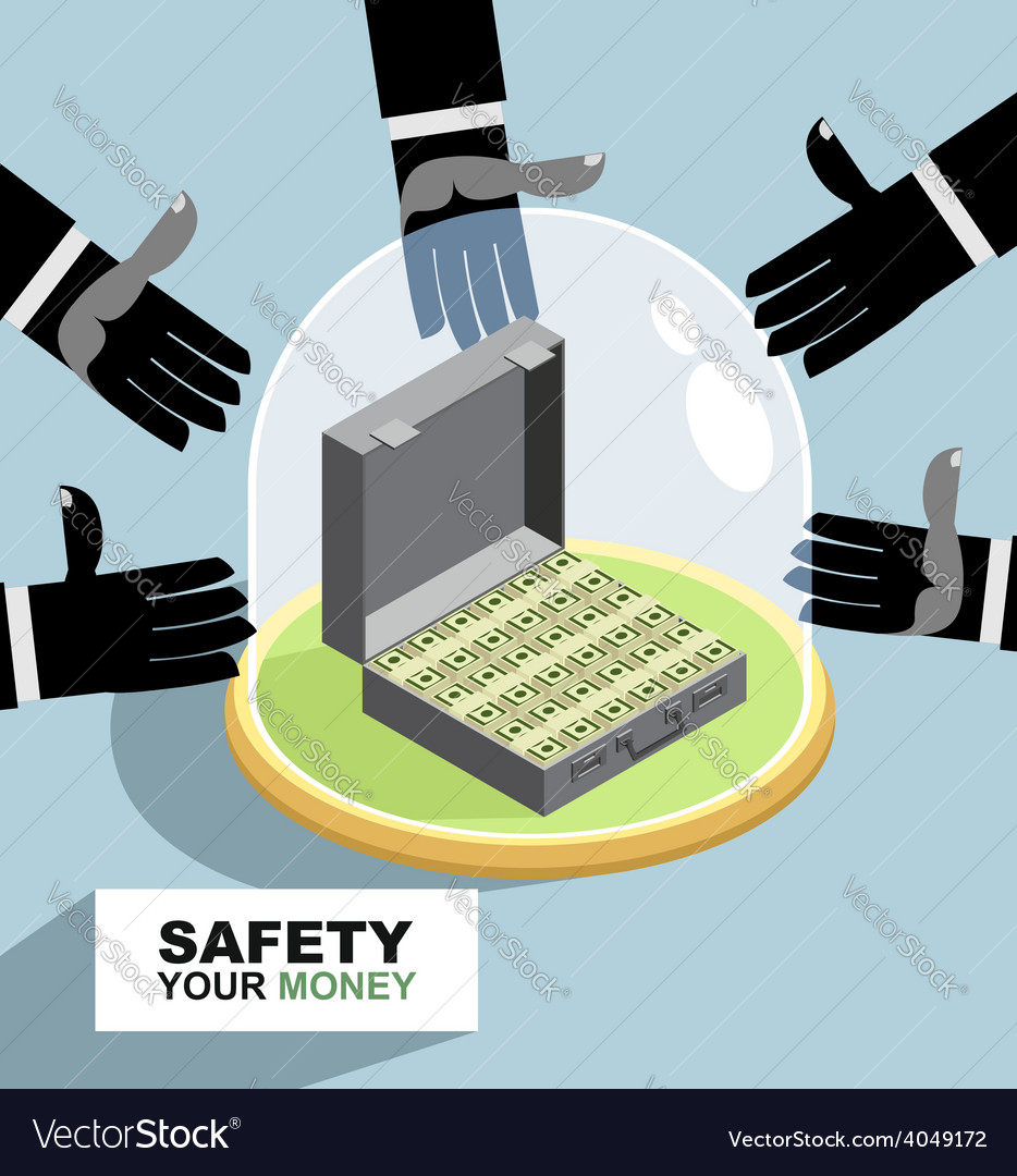 Hands are drawn to money protection against vector