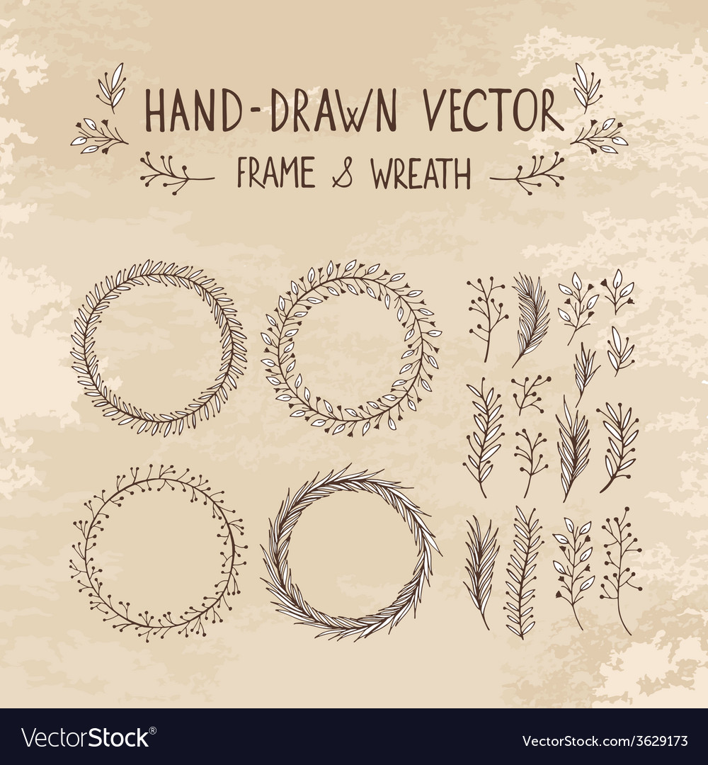 Hand drawn frame and wreath vector