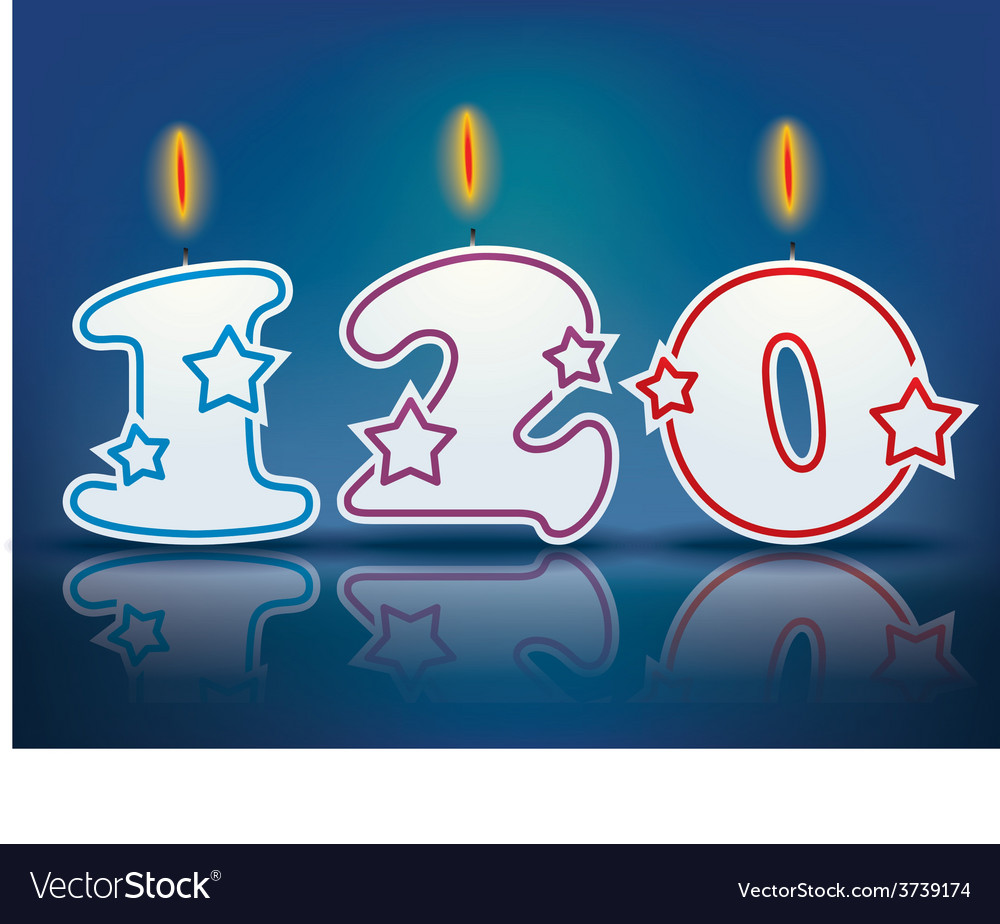 Birthday candle number 120 vector