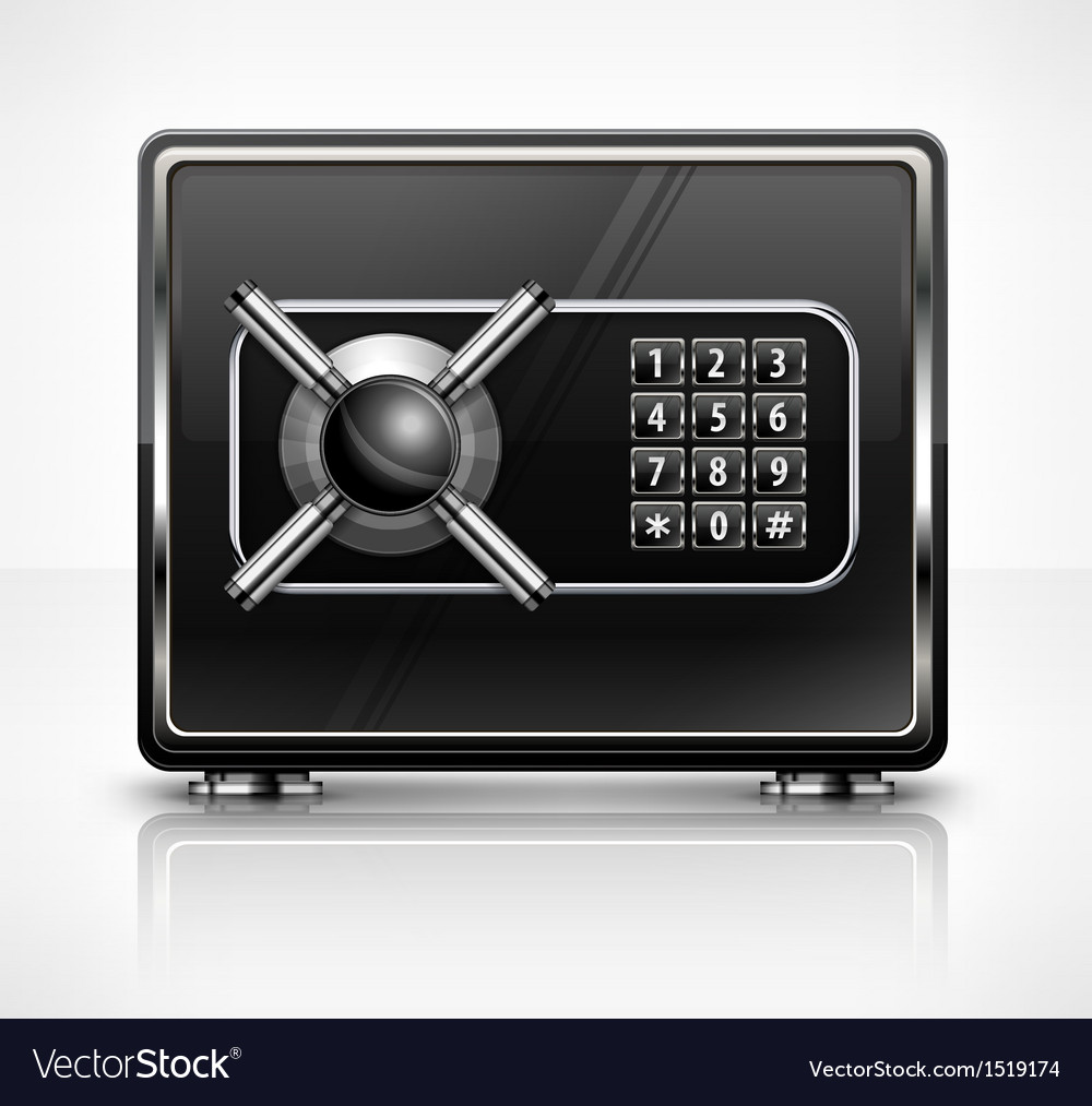 Metal safe isolated on white vector