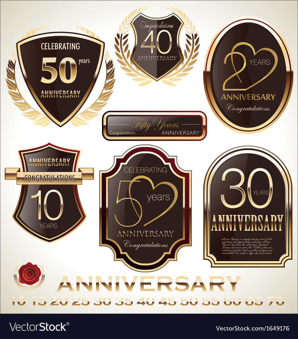 Anniversary brown label set vector
