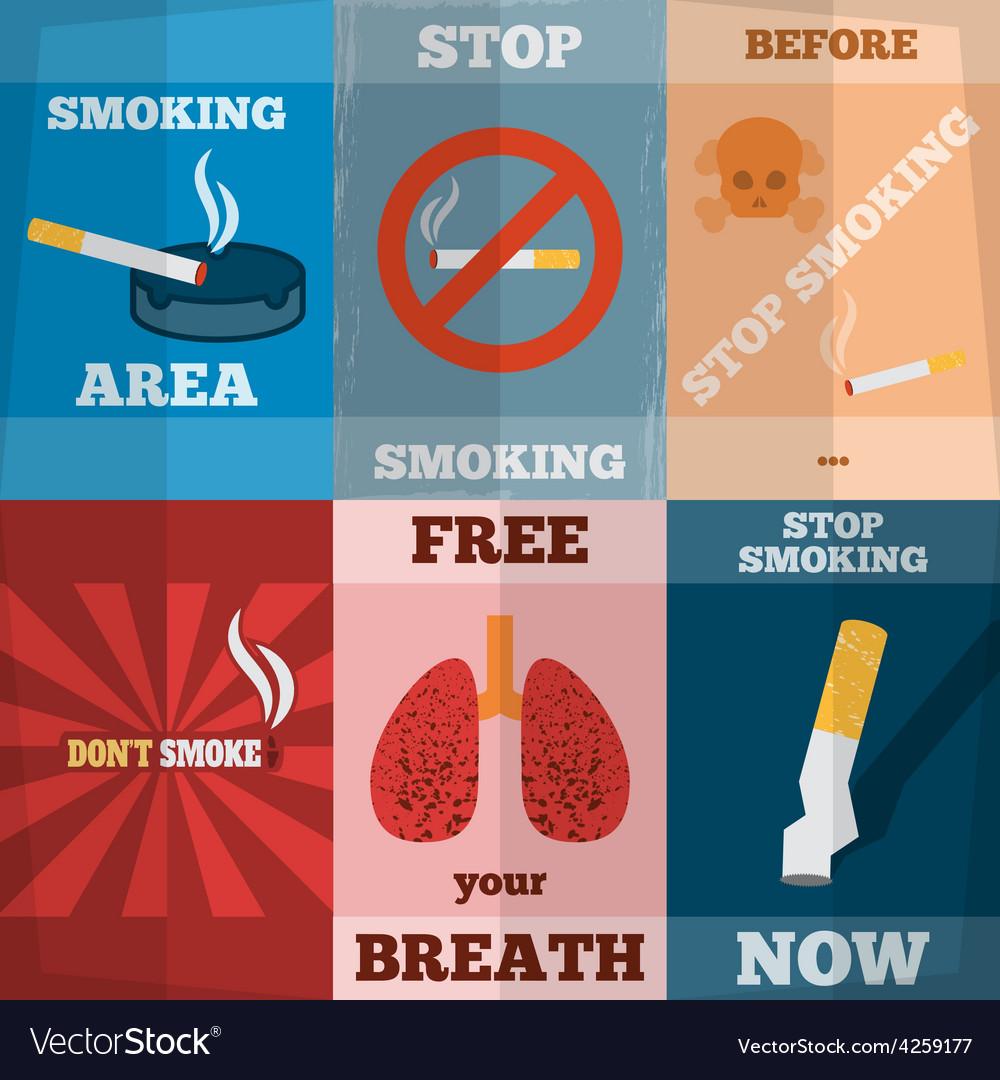 Smoking mini poster set vector