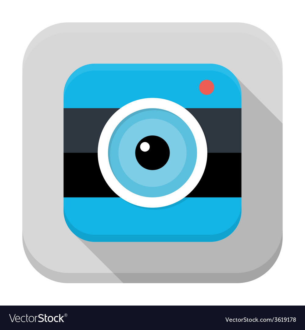 Photo camera flat app icon with long shadow vector