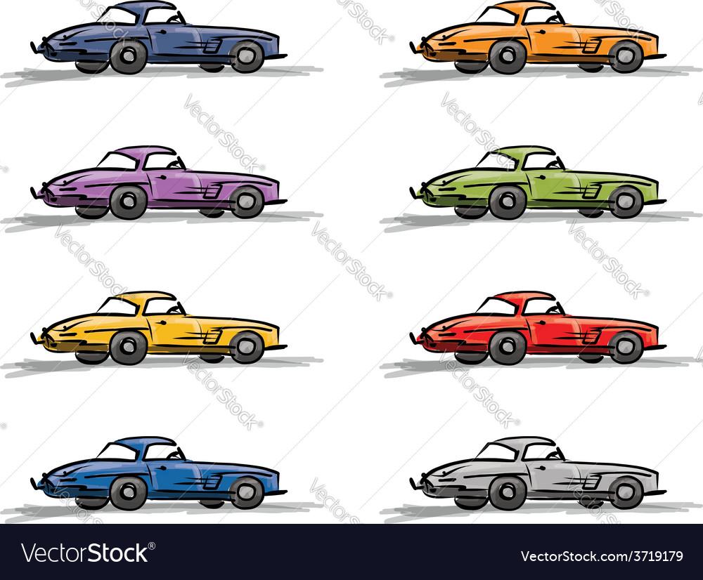 Retro sport cars sketch for your design vector