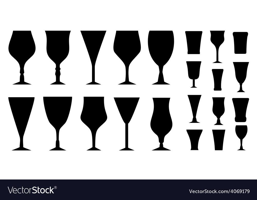 Set glass for alcohol beverage vector