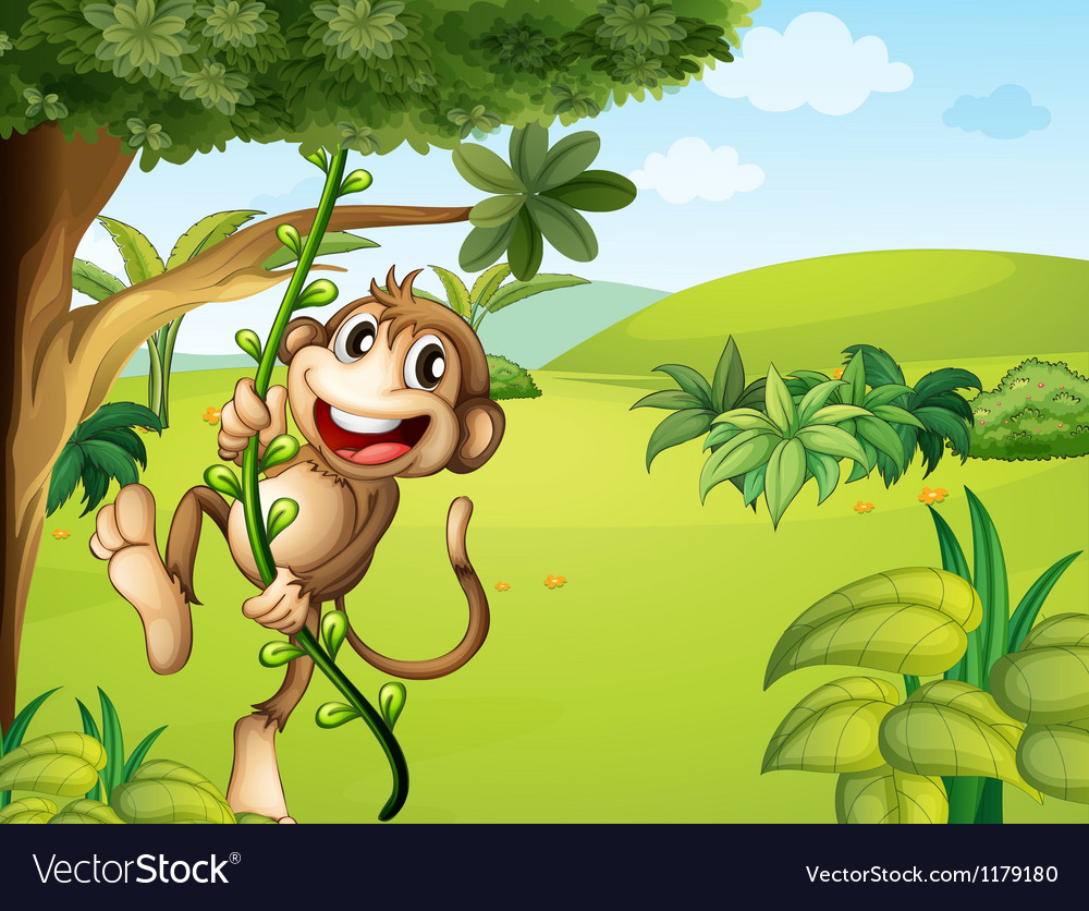 A hanging monkey and a beautiful nature vector