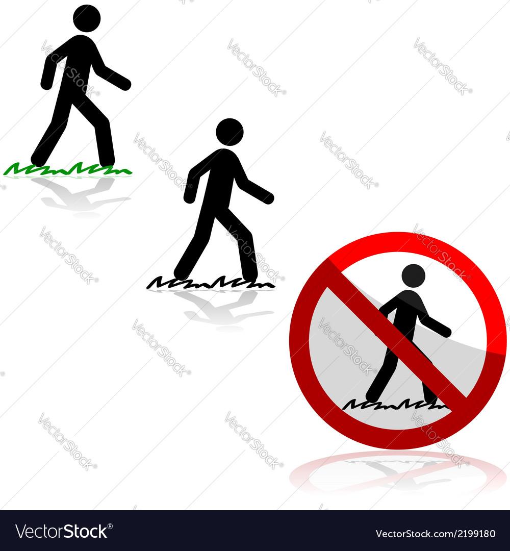 Walking on grass vector