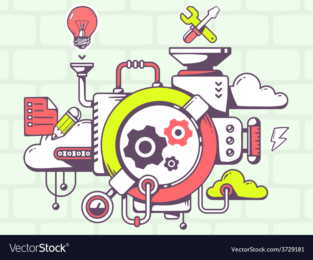 Mechanism to work gears and relevant icon vector