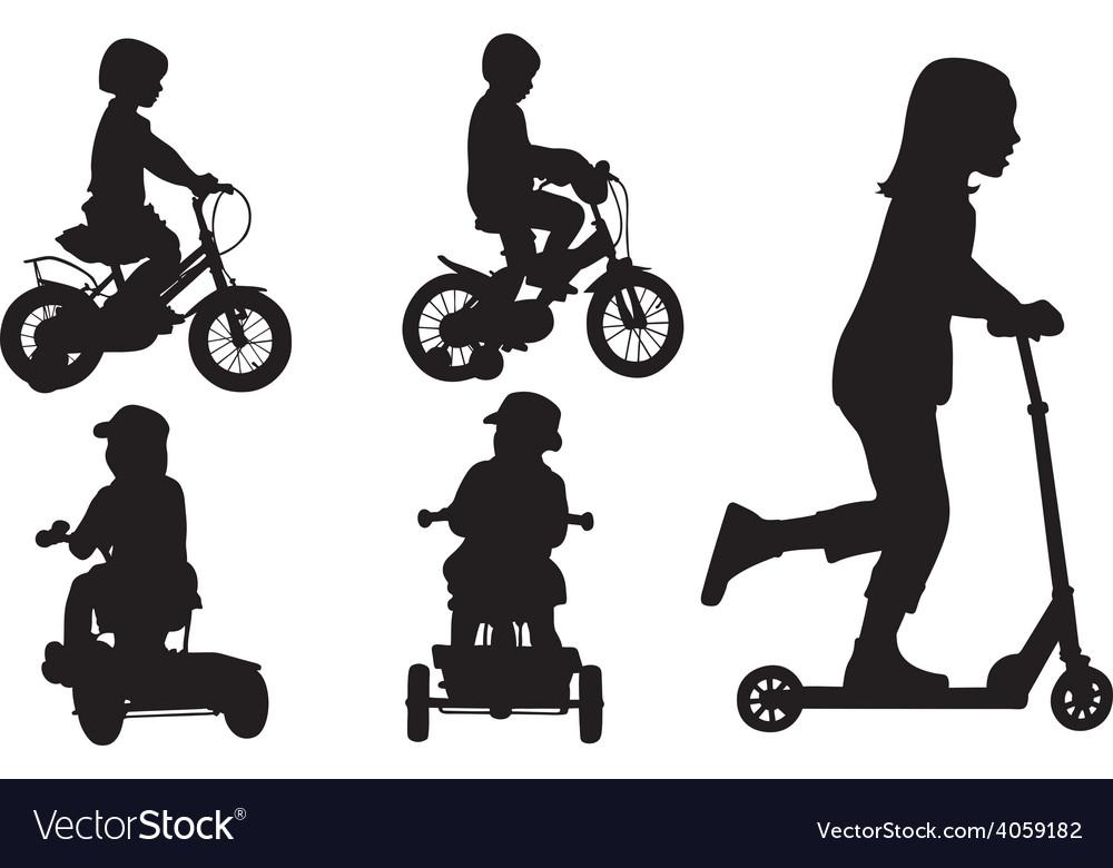 Kids on bikes vector