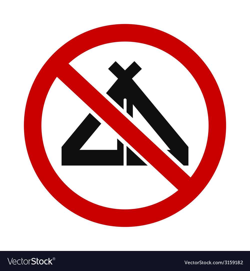 Tents not allowed vector