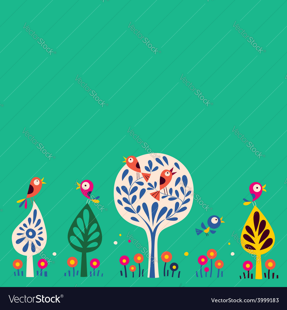 Birds in the trees nature background vector