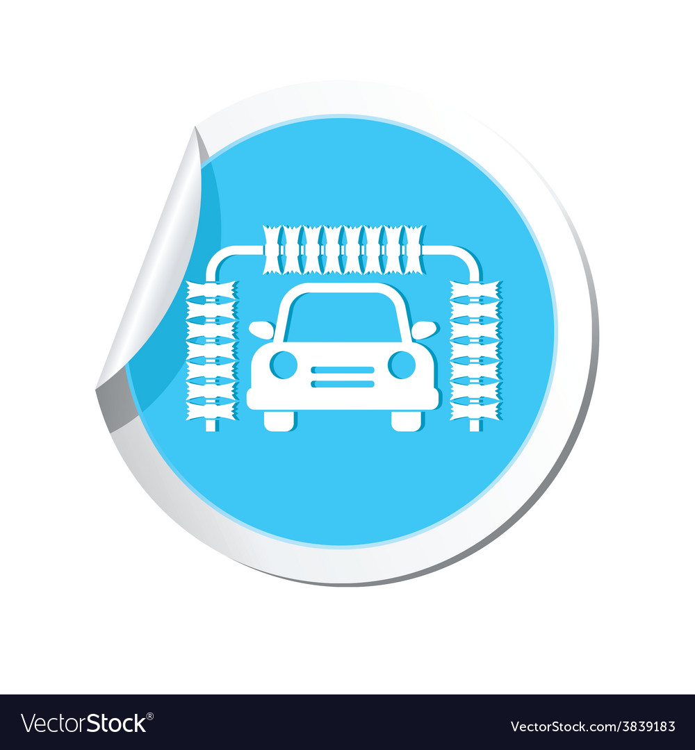 Car wash blue label vector