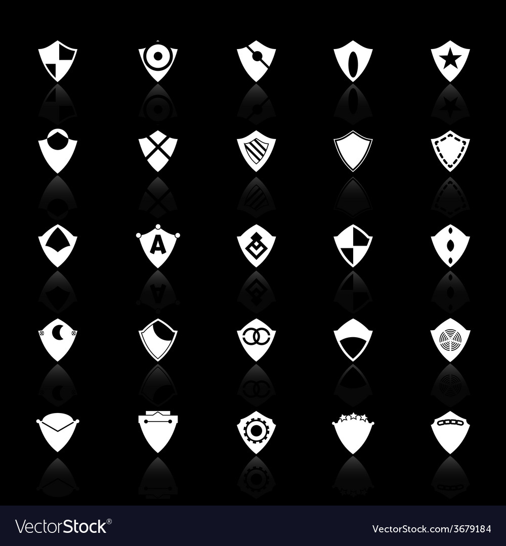 Design shield icons with reflect on black vector