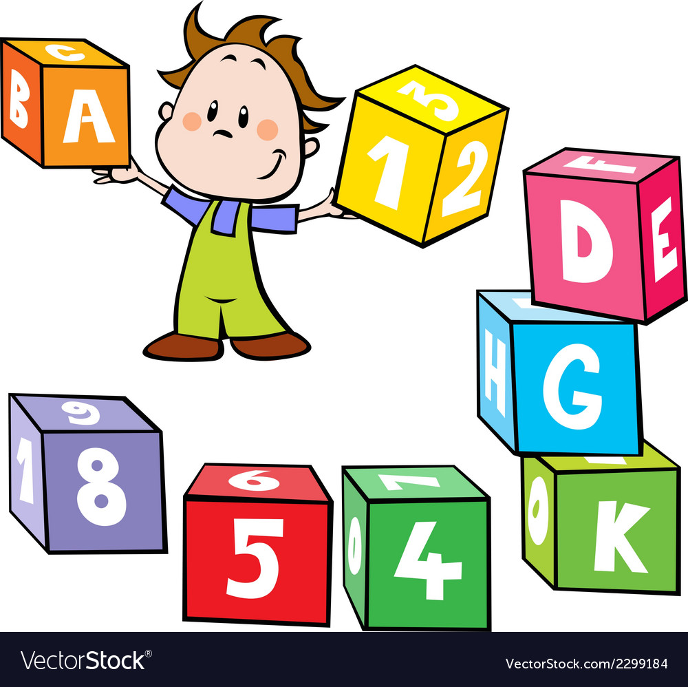 Little boy hold colorful cubes with letter and n vector