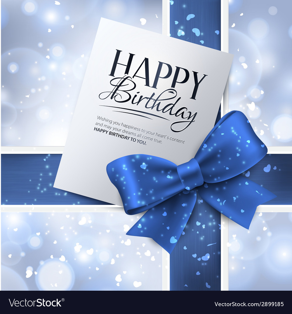 Birthday card with blue ribbon and birthday text vector