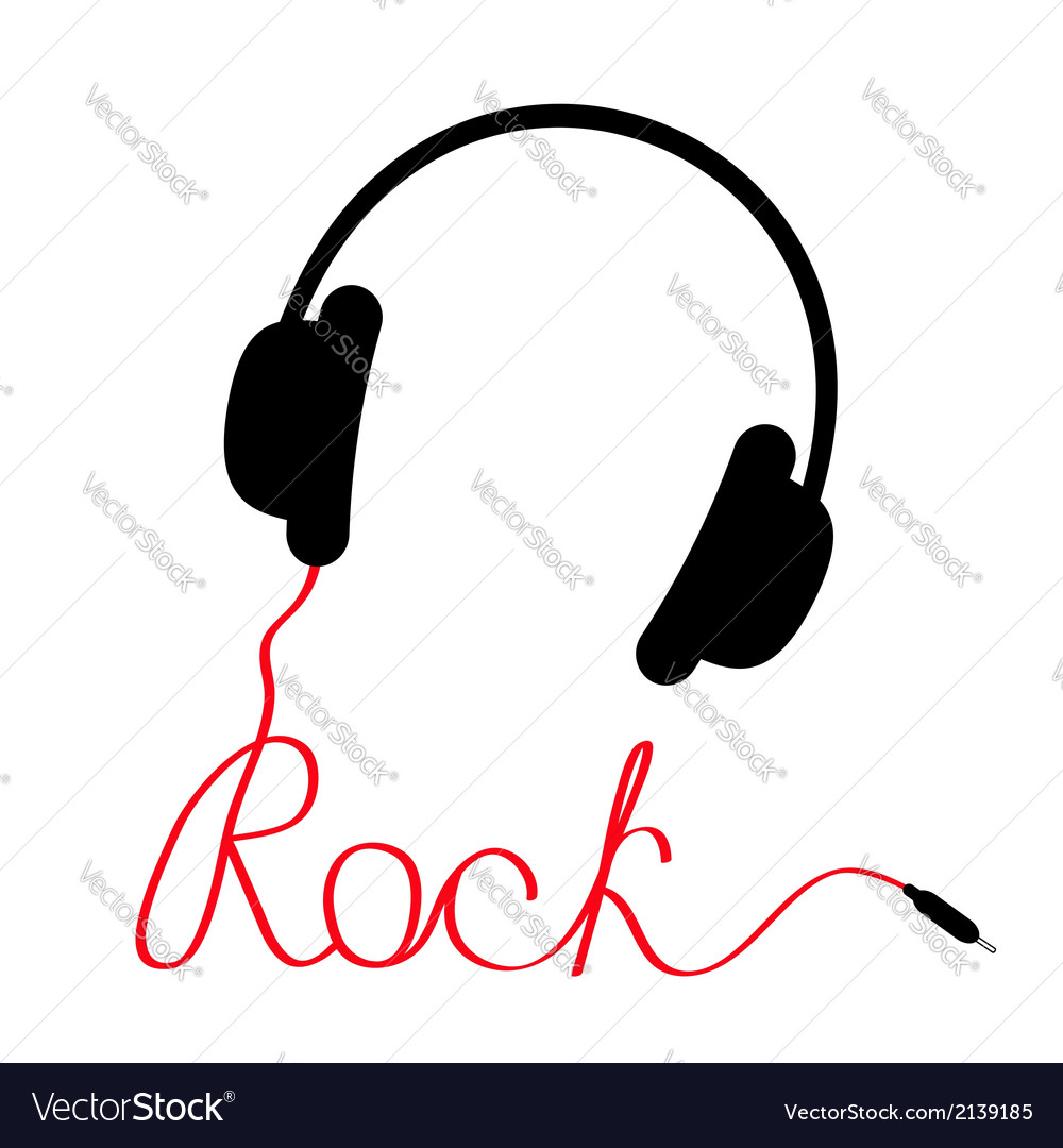 Black headphones with red cord in shape word rock vector
