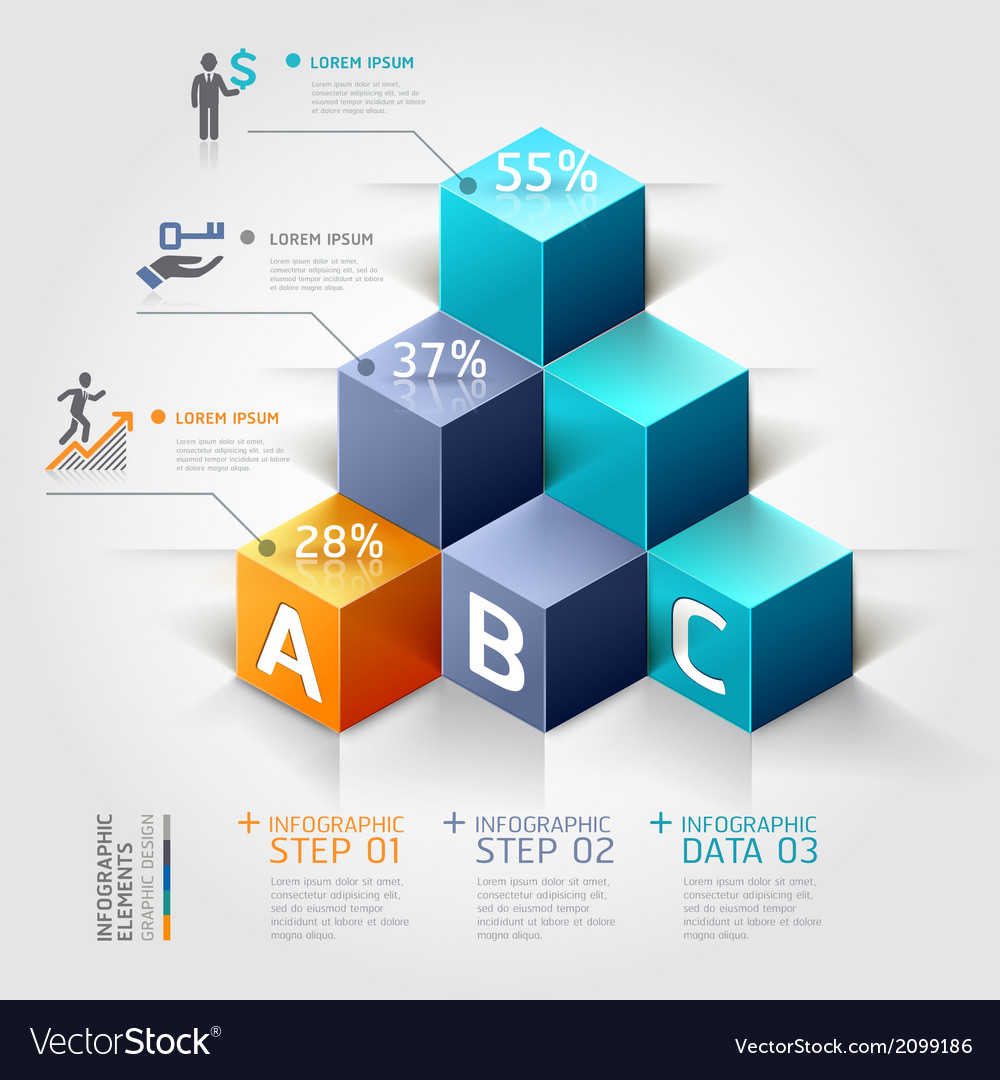 3d business infographics staircase diagram vector
