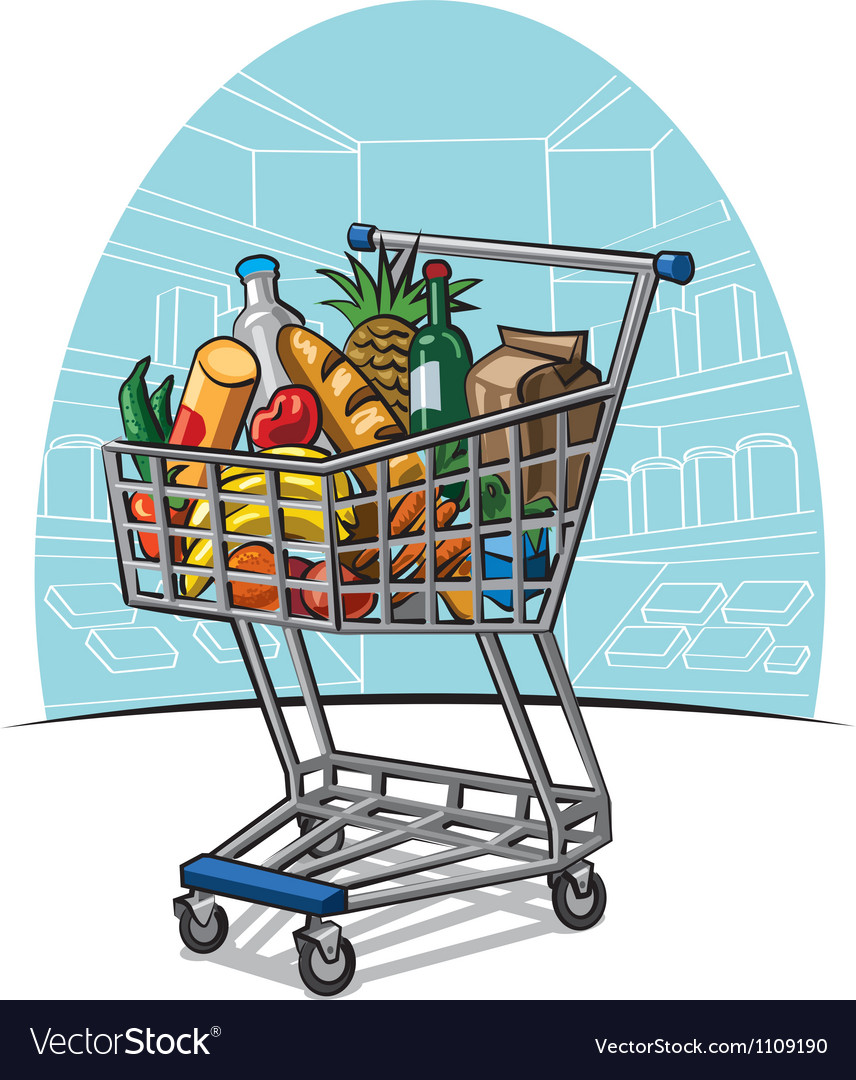 Shopping trolley with products vector