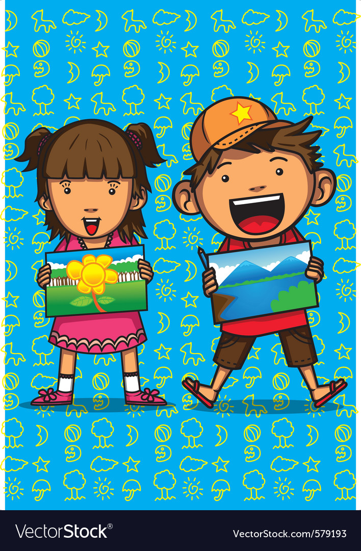 Children drawing competition vector
